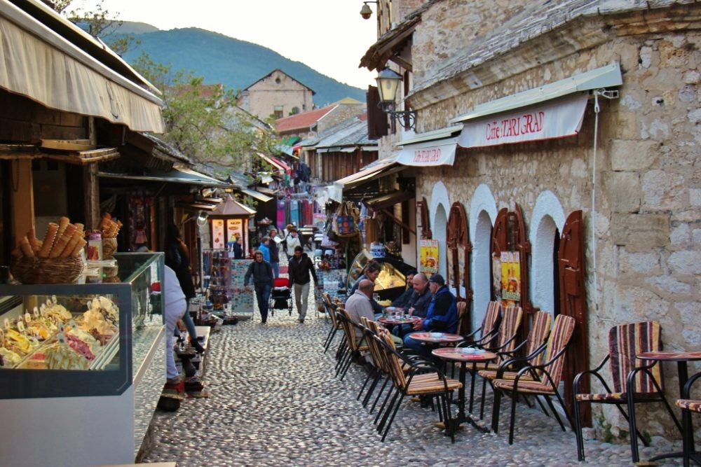 Stari Grad Caffe west of Old Bridge in Mostar, Bosnia-Herzegovina