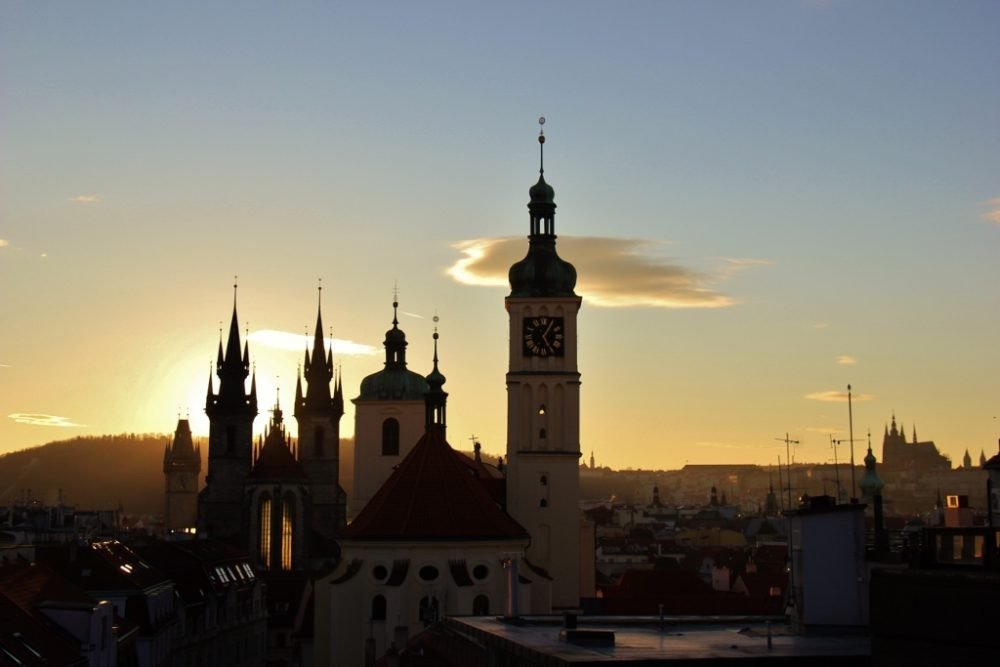 View at Sunset from T-Anker Rooftop Bar, Prague, Czech Republic, JetSettingFools.com