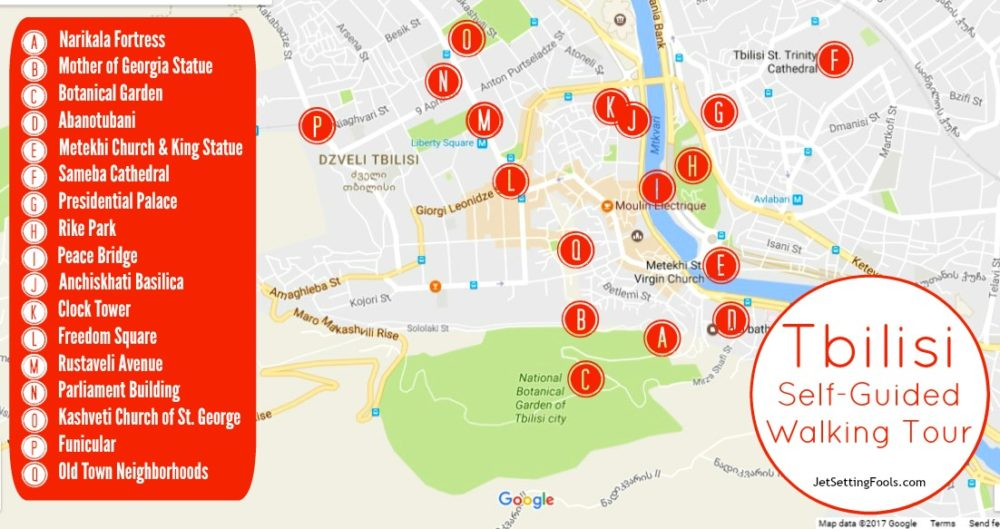 Map of Tbilisi Self-Guided Walking Tour, Tbilisi, Georgia
