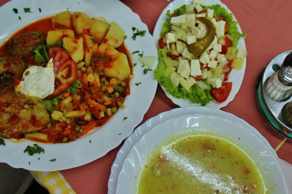 Traditional Bosnian meal at restaurant in Mostar, Bosnia-Herzegovina
