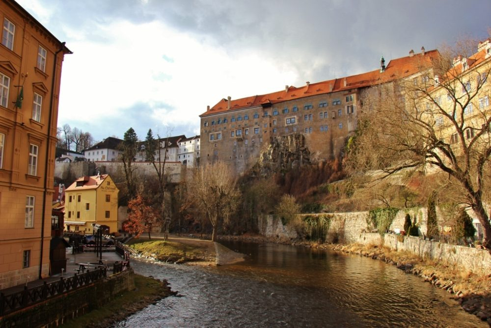 The Vltava River, Upper Castle and Old Town, Cesky Krumlov, Czech Republic