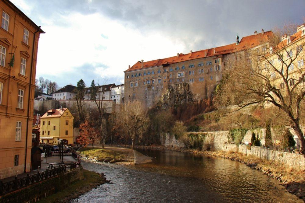 The Vltava River, Upper Castle and Old Town, Cesky Krumlov, Czech Republic