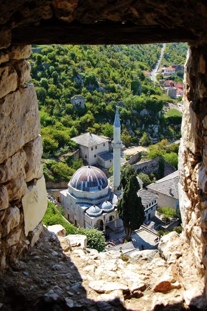View of the Mosque in Pocitelj from tower near Mostar, Bosnia-Herzegovina