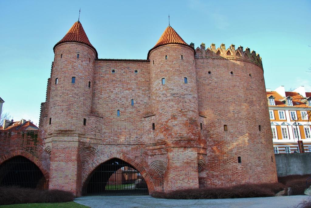 Barbican red brick city walls in Warsaw, Poland