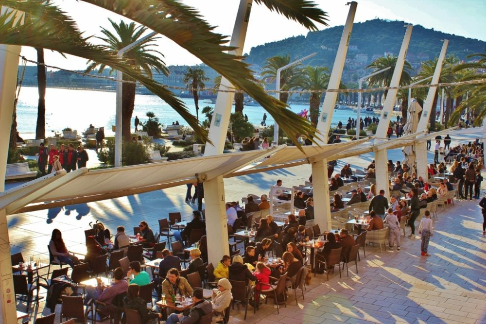 Cafes on the Riva in Split, Croatia