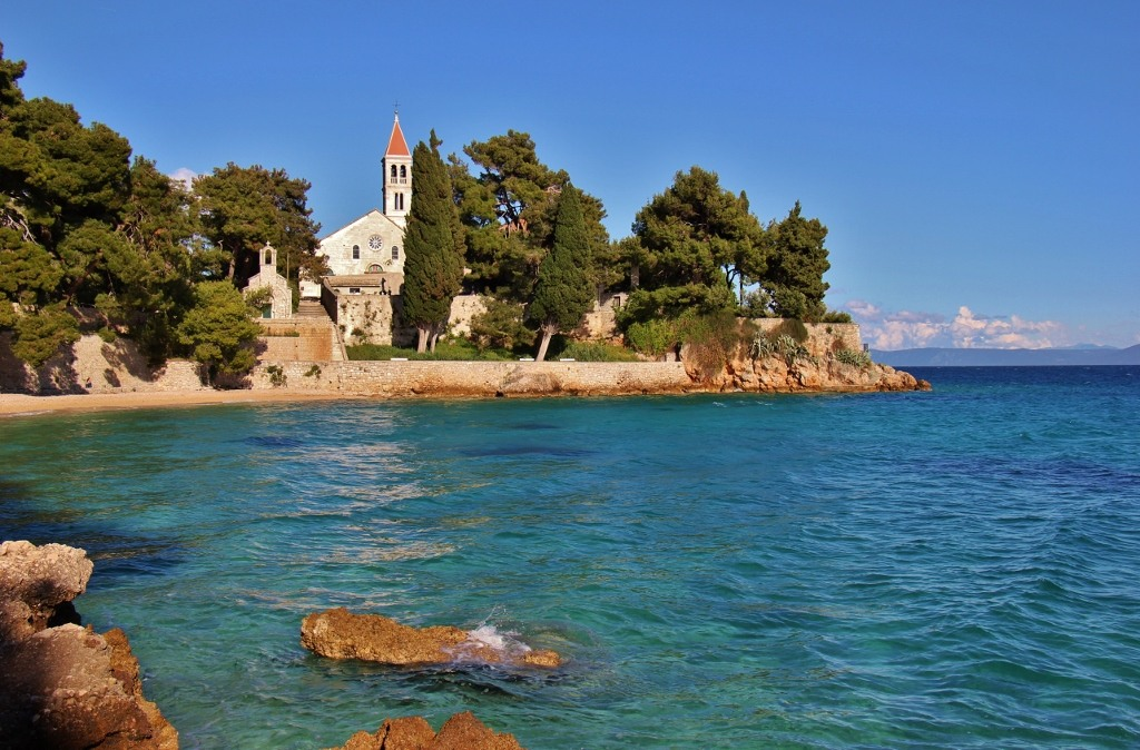 Dominican Monastery on coastline in Bol, Brac, Croatia