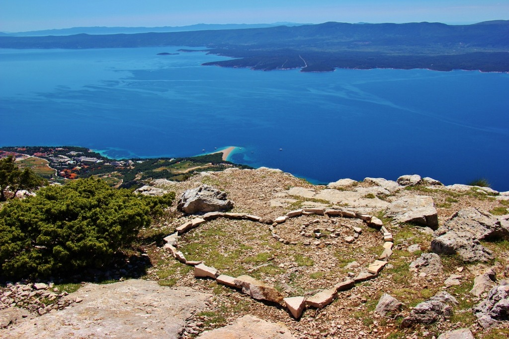 Heart made of stones at Vidova Gora Peak on on Brac, Croatia