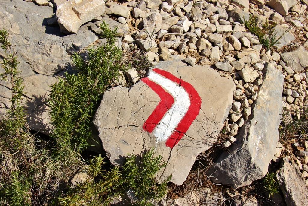 Red and white trail marker on Vidova Gora, on Brac, Croatia