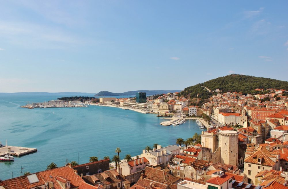 View of waterfront from Cathedral bell tower in Split, Croatia