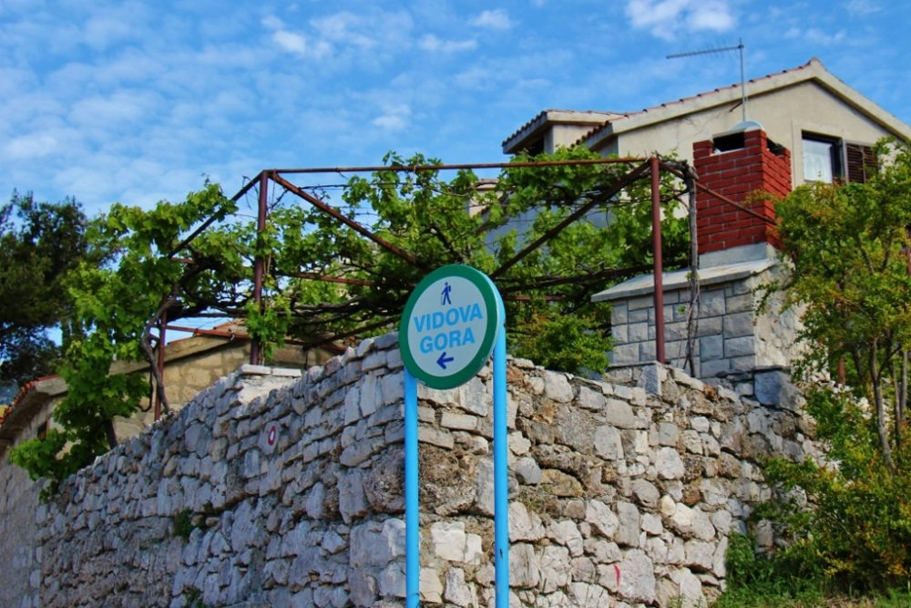 Trailhead marker for hiking Vidova Gora from Bol, Brac, Croatia