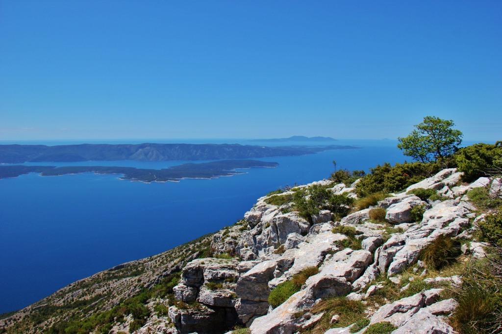 Adriatic Sea and islands from Vidova Gora peak, Bol, Brac, Croatia