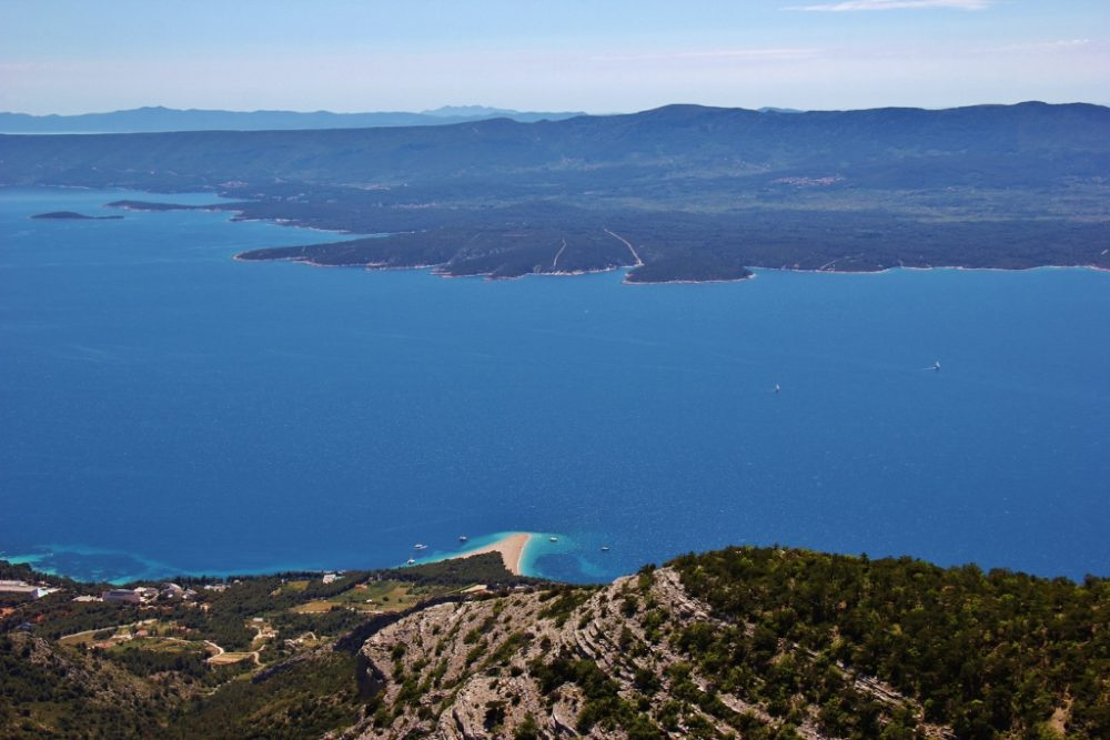 Zlatni Rat Beach and Hvar Island from Vidova Gora, Bol, Brac, Croatia
