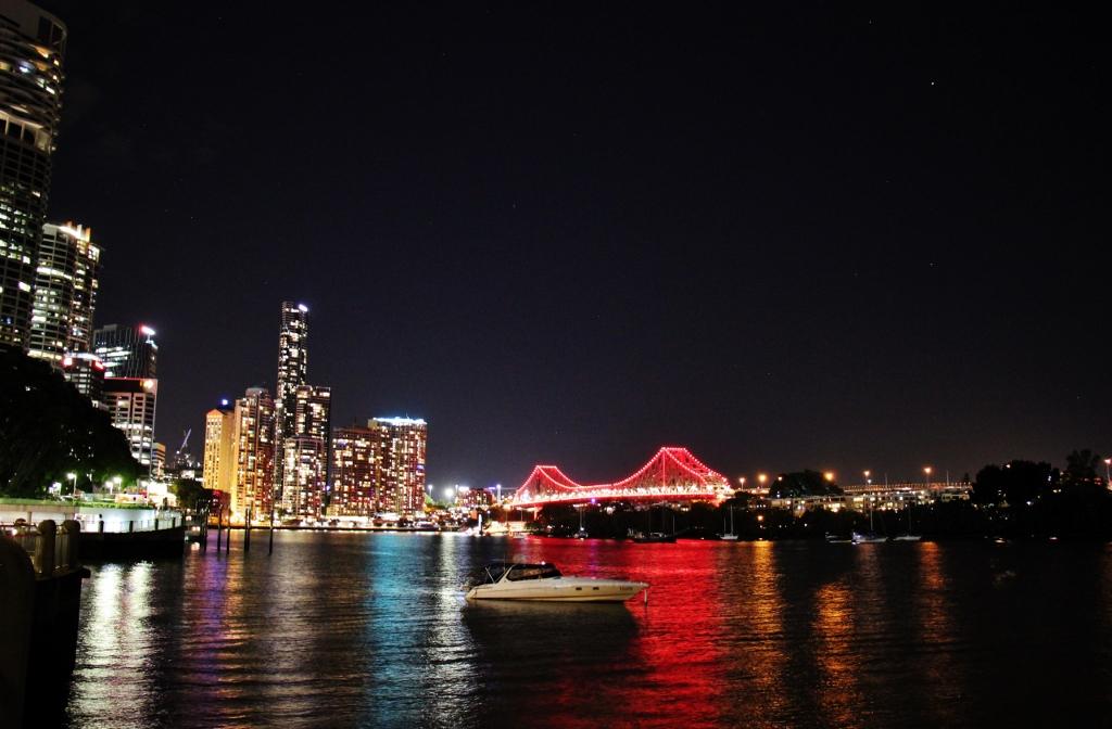 CBD Skyline and Story Bridge in lights at night, Brisbane, Australia