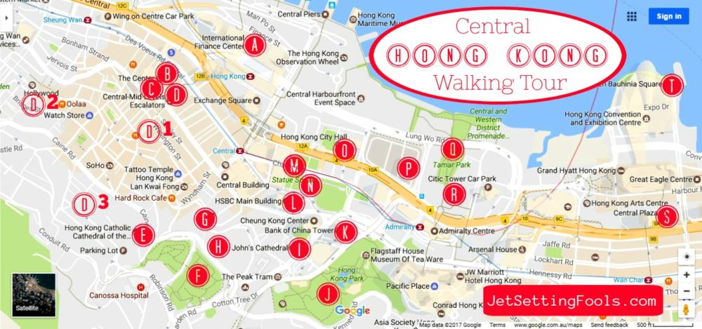 Hong Kong Central Self Guided Walking Tour Map