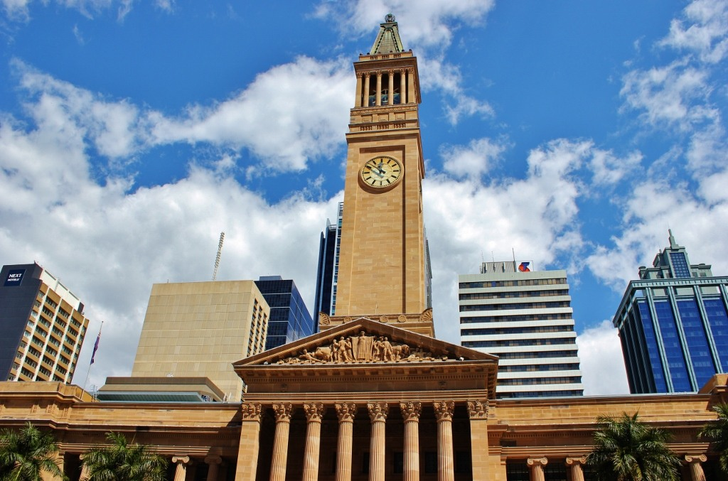 Iconic City Hall and Clock Tower on King Geroge's Square in Brisbane, Australia