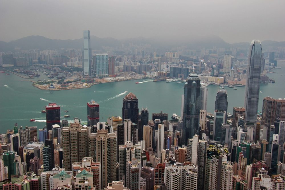 View of Hong Kong Island, Victoria Harbor and Kowloon from The Peak