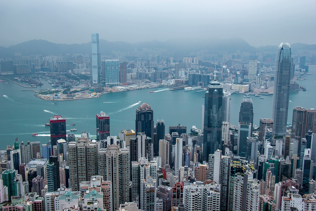 Hong Kong Skyscraper View From Victoria Peak Scenic Outlook