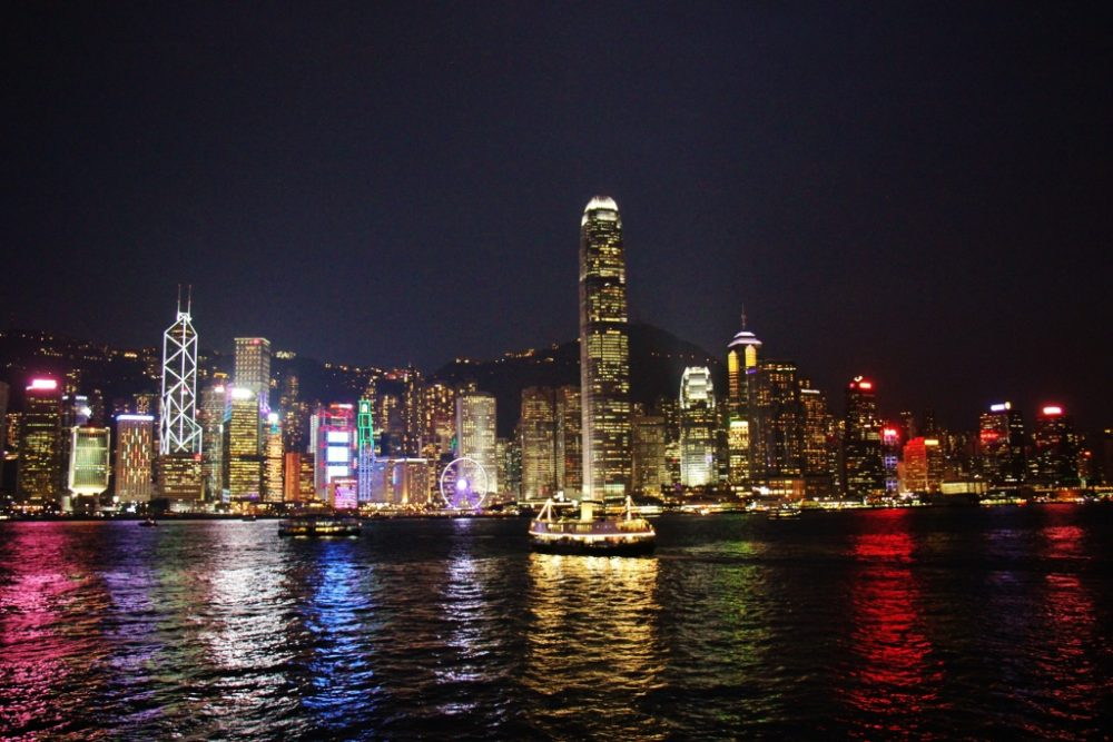 Night time skyline in Hong Kong