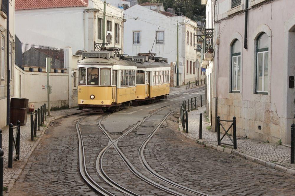 Famous Tram 28 in Lisbon, Portugal