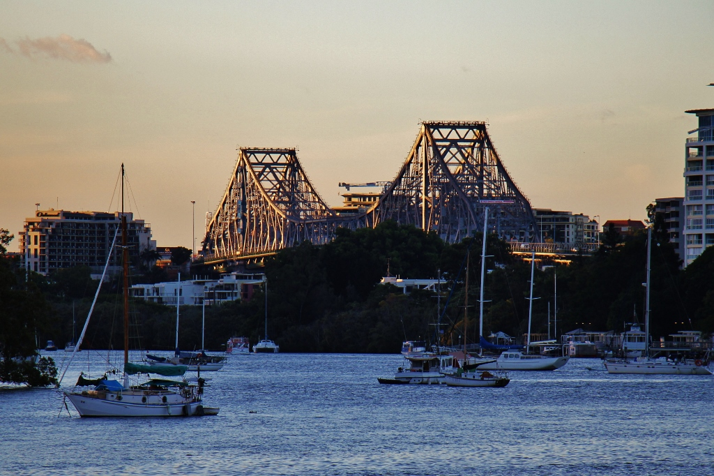 The Story Bridge at sunset in Brisbane, Australia