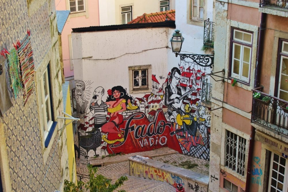 Colorful street art in Lisbon, Portugal