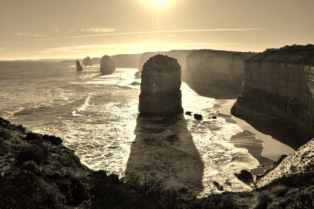 12 Apostles Rock Formations in Black and White, Great Ocean Road, Australia, JetSettingFools.com