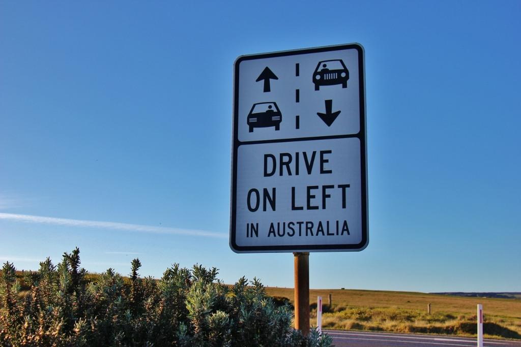 Drive on Left In Australia sign on Great Ocean Road, Australia, JetSettingFools.com