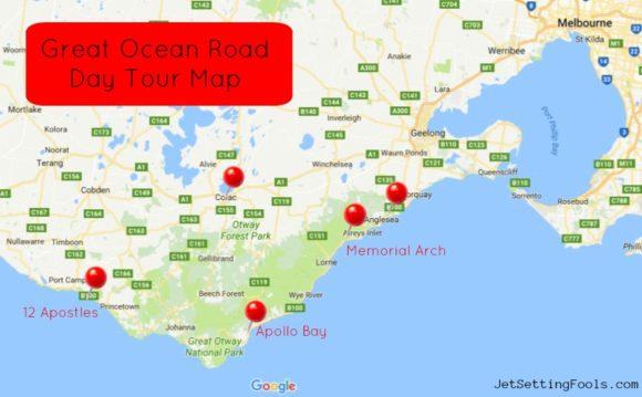 Great Ocean Road Day Tour Map JetSettingFools.com