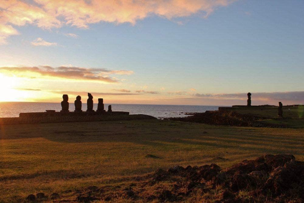 Sunsetting on three moai platforms at Tahai on Easter Island JetSettingFools.com