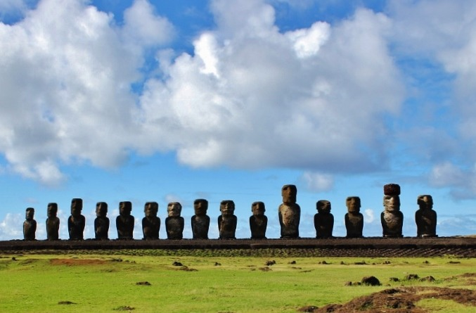 Tongariki platform of 15 moai on Easter Island JetSettingFools.com