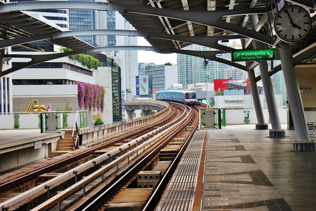 Train arriving at BTS Skytrain station in Bangkok, Thailand