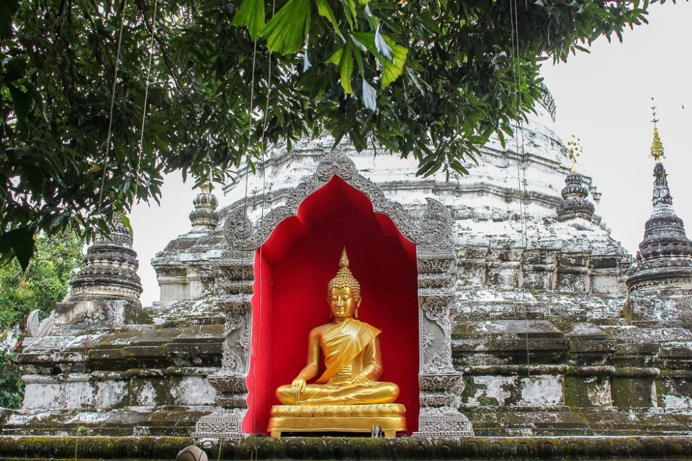 Buddha in niche in stupa in Chiang Mai, Thailand