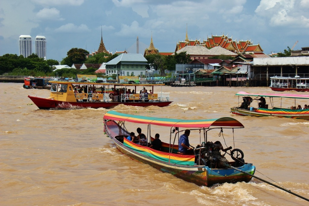 Boats on the Chao Phraya River in Bangkok, Thailand