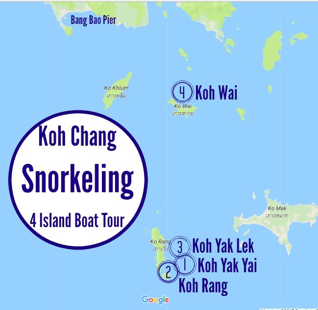 Koh Chang Map of 4 Island Snorkeling Tour Thailand