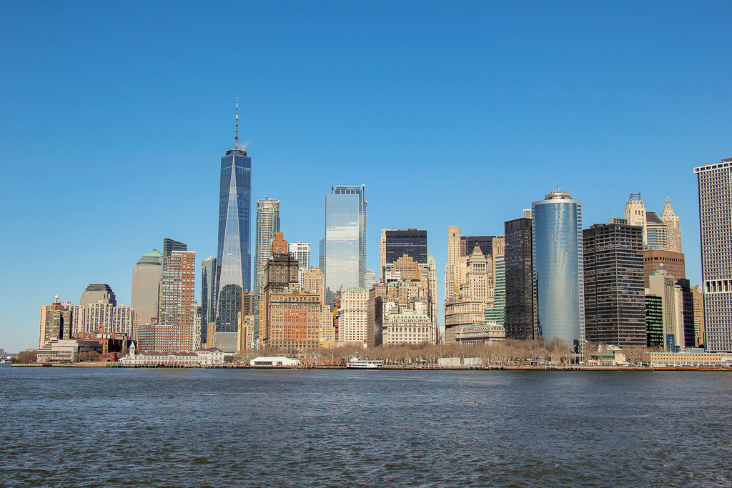 View of New York City Skyline From Staten Island Ferry