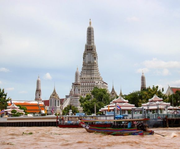 View of Wat Arun from Chao Phraya River in Bangkok, Thailand