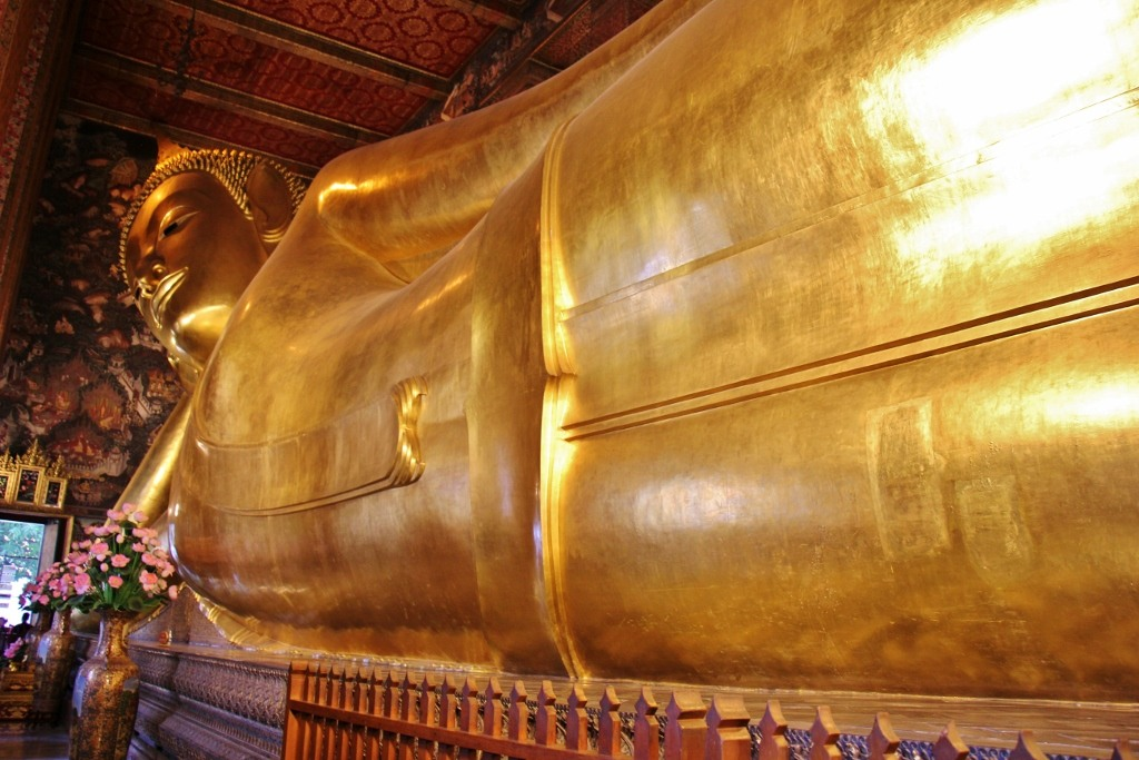 151-foot-long Reclining Buddha at Wat Pho in Bangkok, Thailand
