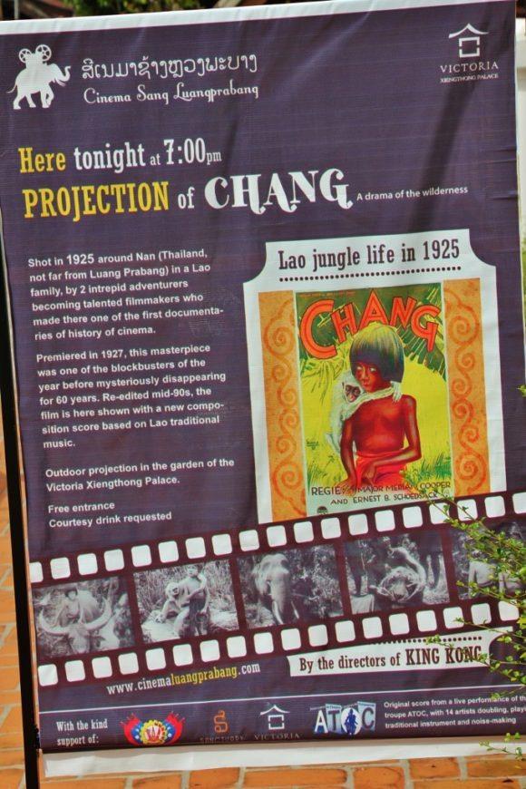 Advertisement for CHANG movie viewing in Luang Prabang, Laos