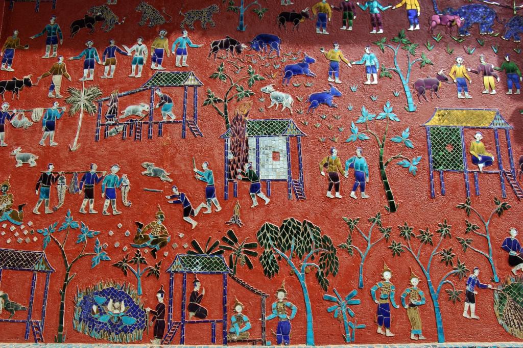 Glass mosaic artwork at Wat Xieng Thong in Luang Prabang, Laos