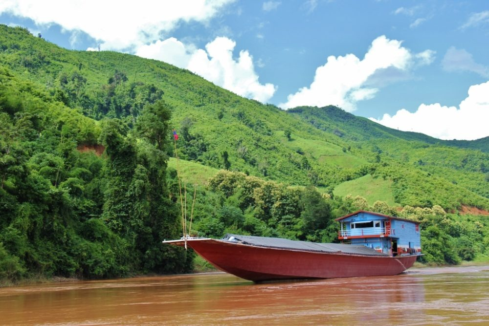 Large transport boat on Mekong River, Laos