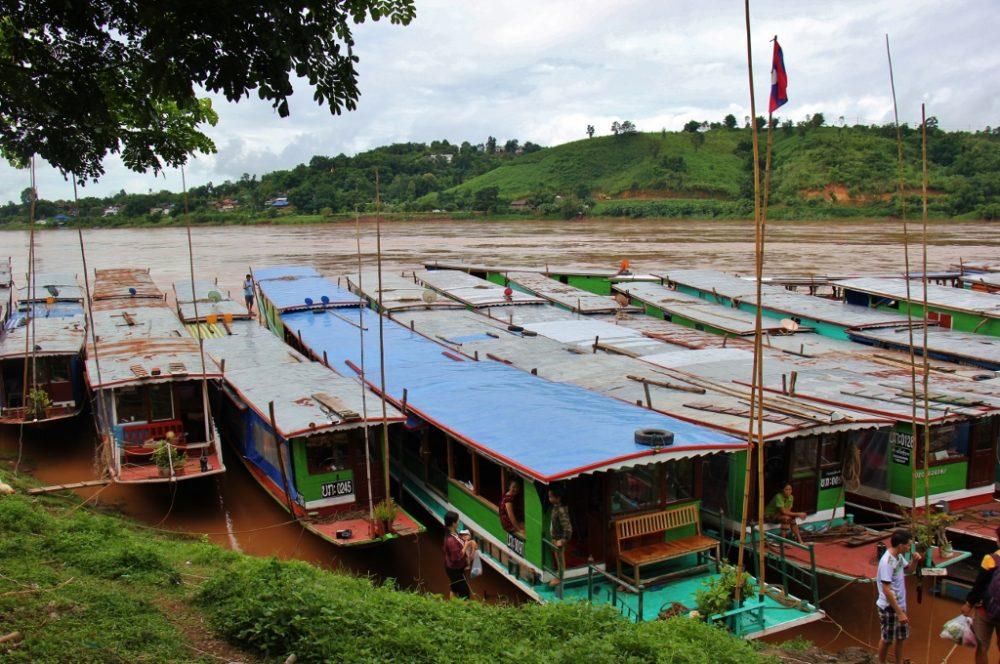 Laos Slow Boats Docked at Huay Xai on Mekong River