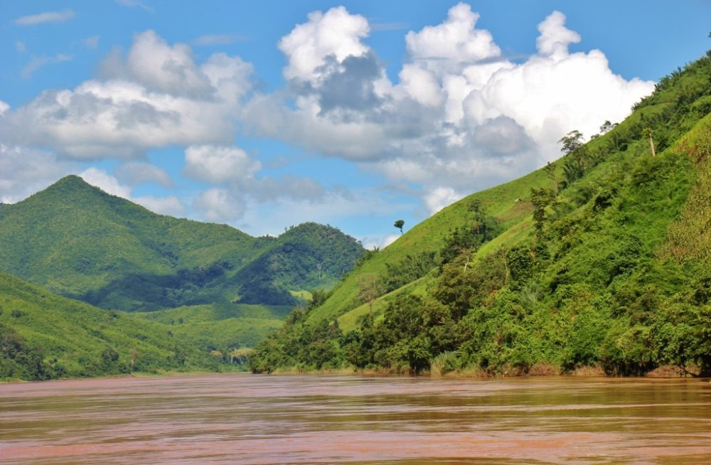 Mountainous scenery on Mekong River, Laos