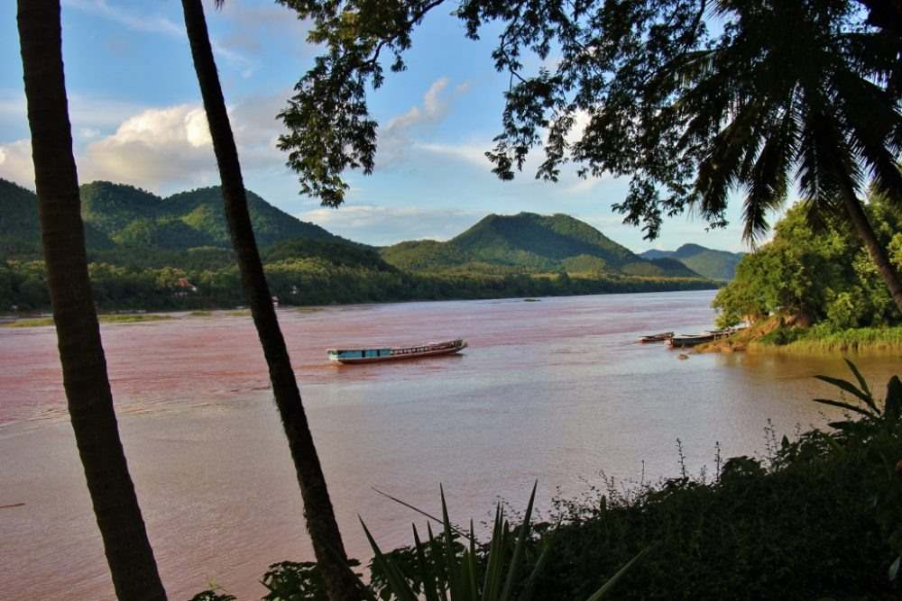 A slow boat on the Mekong River in Luang Prabang, Laos