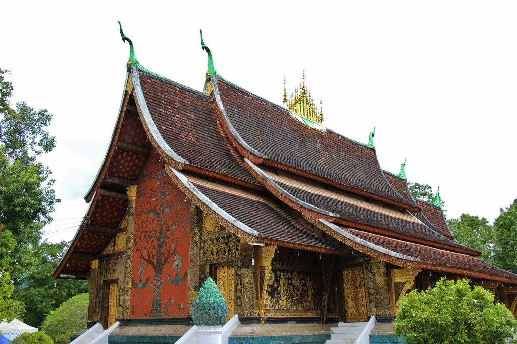 Tree of Life glass mosaic on temple at Wat Xieng Thong, Luang Prabang, Laos