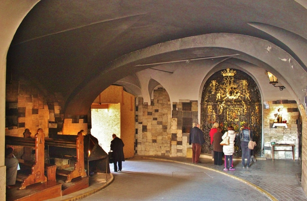 Open air chapel inside Stone Gate in Zagreb, Croatia