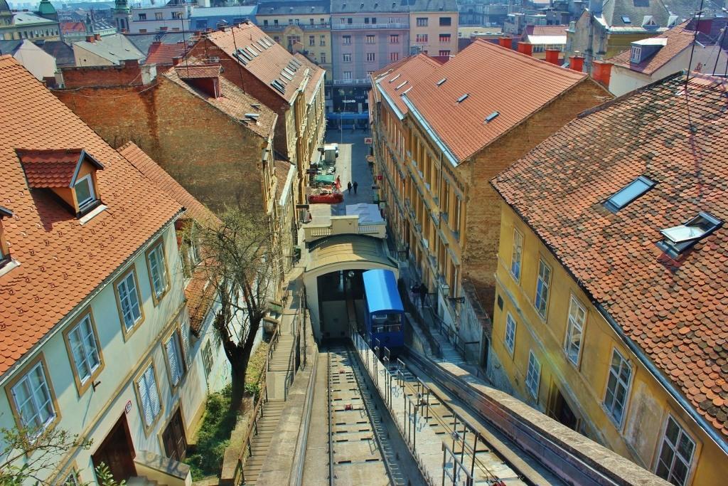 Funicular on tracks in Zagreb, Croatia