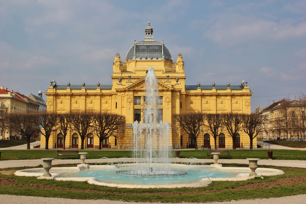 Art Pavilion and fountain in Zagreb, Croatia