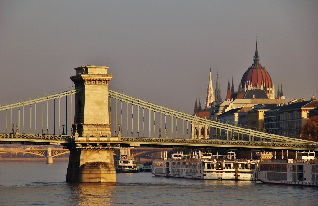 Chain Bridge and Parliament at early morning in Budapest, Hungary