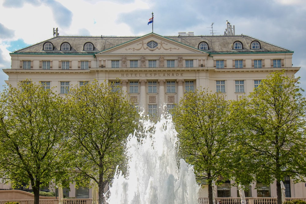 Fountain at the historic Hotel Esplanade in Zagreb, Croatia
