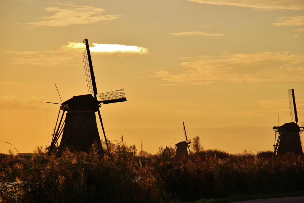 Sunrise at Kinderdijk Windmills in the Netherlands